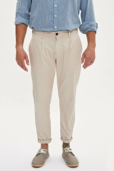 DeFacto Tapered Fit Chino Pantolon Ekru